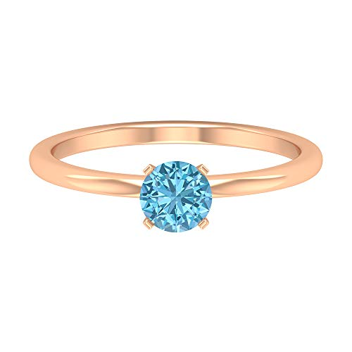 Anillo de compromiso moderno, anillo de boda, D-VSSI 1/2 CT 5 mm forma redonda aguamarina anillo, solitario anillo de piedras preciosas, regalo de aniversario para ella, 14K Oro rosa, Size:EU 70