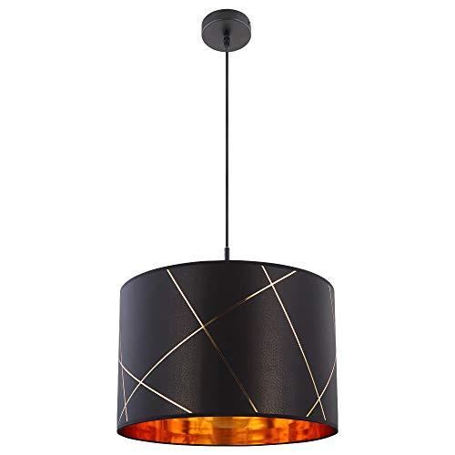 Lámpara colgante de techo con pantalla de tela, color dorado y negro, iluminación para la cocina