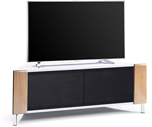 MDA Designs Corvus Eckschrank für Flachbildfernseher bis 127 cm (50 Zoll), Hochglanz-Weiß Oak Side Profiles