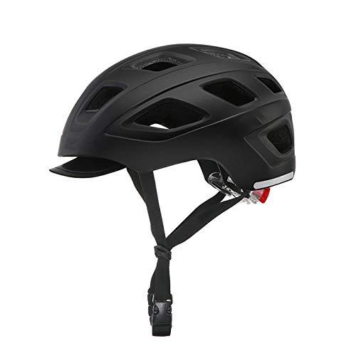 SFBBBO asco Bicicleta Casco de Ciclismo LED Casco de Seguridad para Bicicleta de Ocio Urbano con luz de Carreras Bicicleta de Carretera Visera extraíble Casco M Negro