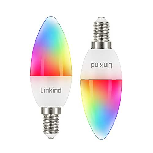 Linkind Smart WiFi B35 lampada candela da 5,5 W, lampadina da 40 W sostituita, lampada bianca calda da 470 lm e RGB E14, dimmerabile modalità timer e scena, compatibile con Alexa e Google Home