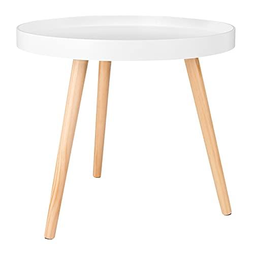WOLTU Tavolino da Salotto Moderno in Legno Tavolino Basso Decorativo Comodino Piccolo Bianco Quercia 50 x 50 x 44 cm (LxPxH) TS143ws