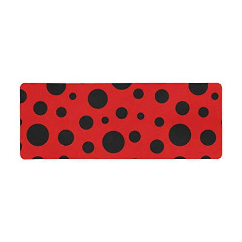 InterestPrint Soft Extra Extended Large Gaming Mouse Pad with Stitched Edges, Desk Pad Keyboard Mat, Non-Slip Base for Office & Home, 31.5 x 12In - Funny Red Ladybug Ladybird Dots