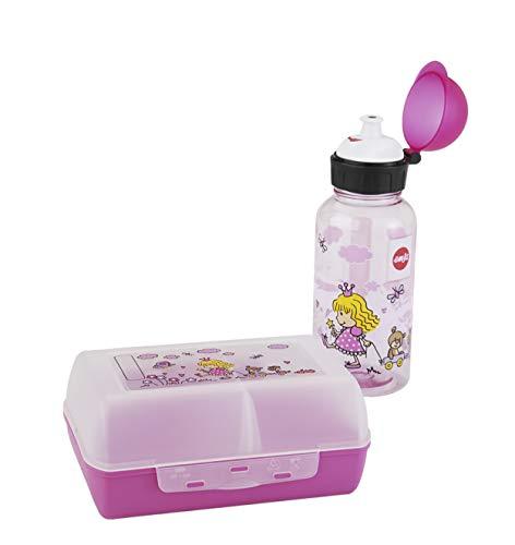 Emsa 518137 Kinder Set Trinkflasche + Brotdose, Motiv: Prinzessin, BPA frei, Material: Trinkflasche aus Tritan, bruchfest und unbedenklich, Brotdose aus Kunststoff, 18,2 x 18,3 x 7,5 cm (LxBxH)