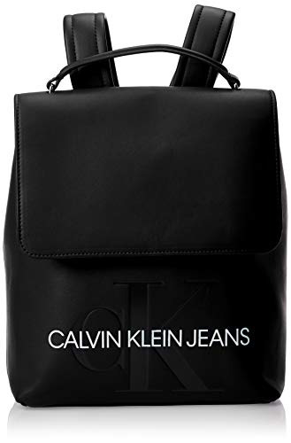 Calvin Klein Sculpted Monogram Flap Backpack - Zaini Donna, Nero...