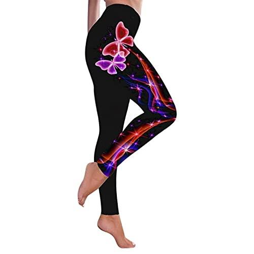 QTJY Leggings da Donna Stampati in 3D, Leggings a Vita Alta da Palestra, Pantaloni da Yoga Elasticizzati e ad Asciugatura Rapida D XL