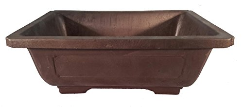 Rectangle Mica Bonsai Training Pot - Superior to Plastic - Won't Break from Freezing or Dropping Like Clay, Earthenware or Ceramic (Exterior Dimensions 9 1/2 x 7 x 3 3/8)