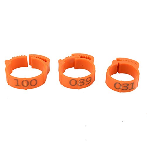 Ruiqas 1-200 Numbers Poultry Chicken Leg Bands Clip-on Bird Adjustable Foot Label Rings for Pigeon Chicks Bantam Duck Goose