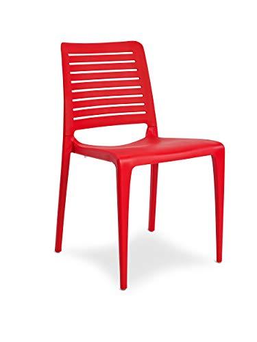 DCB GARDEN Park Chaise de Jardin, Rouge, 56x47x84 cm