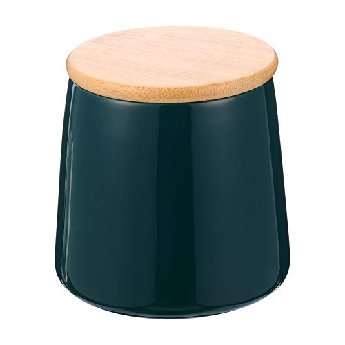BESTonZON Vorratsdosen Keramik Teedose Kaffeedose mit Bambusdeckel 500ml Grün Kosmetikdose Wattedose mit Deckel Dichtung Kaffee Tee Süßigkeiten Gewürze Kräuter Küche Bad Behälter Aufbewahrung