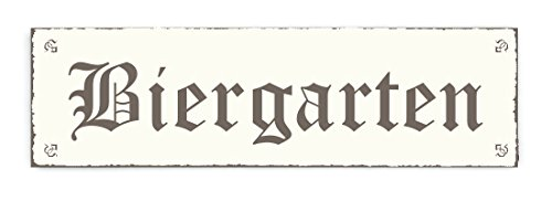 BIERGARTEN Schild im Retro Look - 20 x 6 cm - Shabby Vintage Holzschild Türschild