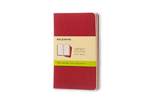 Moleskine Set de 3 cahiers pages blanches Format de poche Couverture souple 9 x 14 cm Rouge