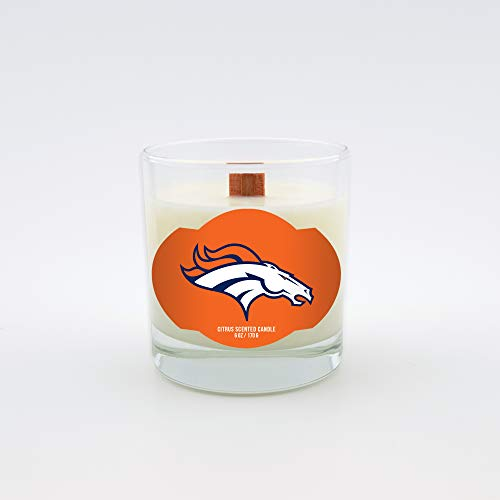 Sweet Peach Worthy Promo NFL Denver Broncos Scented Candle 5.8 Oz