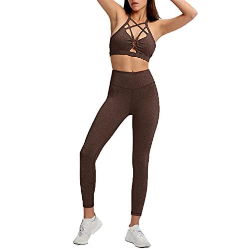 Conjunto de Ropa Fitness Deportiva para Mujer, Set de ropa deportiva de 2 piezas Trajes de entrenamiento de 2 piezas Tallas de yoga delgadas de alta cintura alta Hallow Out Criss Cross Sports Sujetado