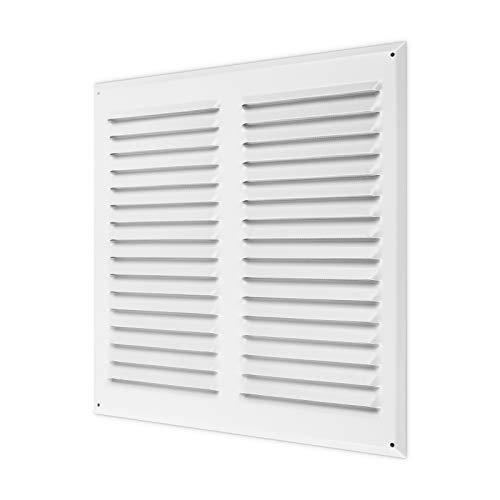 calimaero WGQW 300x300mm - Rejilla de Ventilación Cuadrado en Aluminio con Protección Contra Insectos Rejas Fijas - Blanco