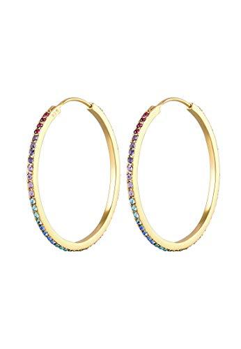 Elli Ohrringe Damen Creolen Regenbogen Bunt Trend mit Swarovski® Kristallen in 925 Sterling Silber