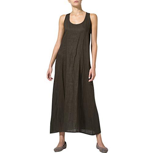 Leinenkleider Damen Lang,Binggong Ärmellos GroßE GrößEn Sommerkleider Strandkleid Beiläufige Lose Einfarbig Kleid Langarm Baumwolle Boho Maxi Kleid S-3XL