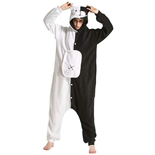 Monokuma Black and White Bear Onesie Pajamas Anime Jumpsuit Cosplay Costume Unisex Adult (Black and White,X-Small)