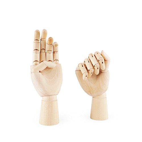 PDFans-Handmodell aus Holz, mit exakt gegliederten Fingern und flexiblen Gelenken, für Kunst / Zeichnung / Ausstellung Left+Right Hands