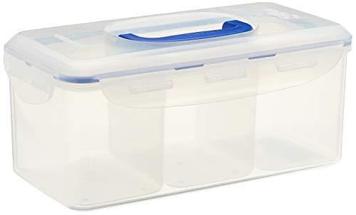 Lock&Lock 2059097 hermétique PP Classic rectangulaire avec 3 boîtes à l'intérieur et poignée 3,4l, Plastique, Transparent