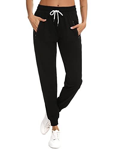 Doaraha Pantalones Mujer Chandal Largo Pantalon Algodon con Cordón Cremallera Pantalón Deportivo Bolsillo Conciso y Generoso