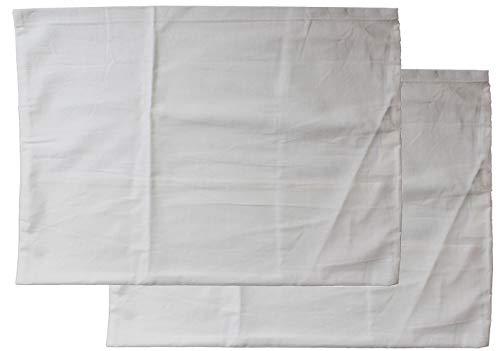 KH-Haushaltshandel Juego de 2 fundas de almohada de 60 x 80 cm, lavable a máquina a 95 °C, 100% algodón, color blanco