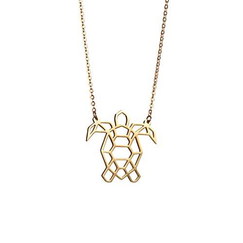 La Menagerie Schildkröte Gold, Origami-Schmuck & vergoldete geometrische Kette - 18-karätig Goldkette & Schildkröte-Halsketten - Schildkröte-Halskette für Frauen & Mädchen & Origami-Halskette