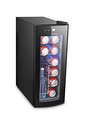 FRIGIDAIRE EFRW1225_AMZ EFRW1225-12 Wine/Beverage Cooler with Curved Glass Door-DC Rated for use with Car Cord or AC Adapter, 12-bottle, womens