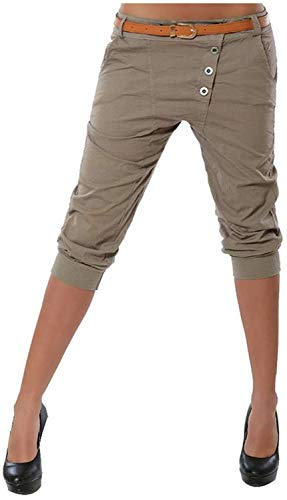 Pantalon Femme Skinny Party Club Casual Boutons Poches Slim Fit Solide Short Crayon Pantalon Taille Asiatique L kaki