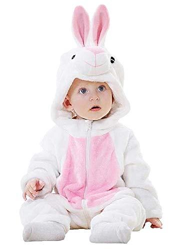 Babykonijnenpak - baby - fleece - zachte pluche - vermomming - konijnenpak - carnaval - kostuum - meisjes - halloween - unisex - jongens - maat 70 - wit en roze 6 - 6 maanden