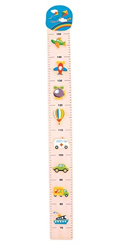 Bieco Messlatte Verkehr | Skala 0,65-1,5m | Messlatte Holz Kinder | Wand Holz Dekoration | Maßband Körper | Kinder Messlatte Holz | Holz Meter | Wandtattoo Kinderzimmer Tiere | Messlatte Kind