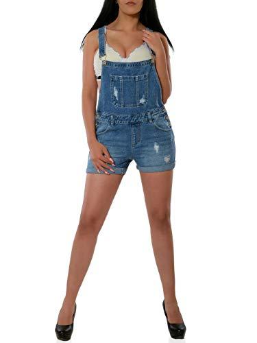 Daleus Damen High-Waist Shorts Hot-Pants Latzjeans Latzhose Kurze Hose DA 16044 Farbe Blau Größe XS / 34