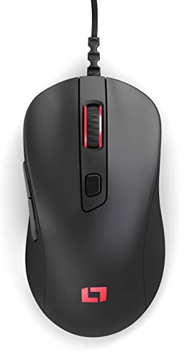 Lioncast LM50 - Ratón (mano derecha, Óptico, USB, 12000 DPI, 1 ms, Negro)