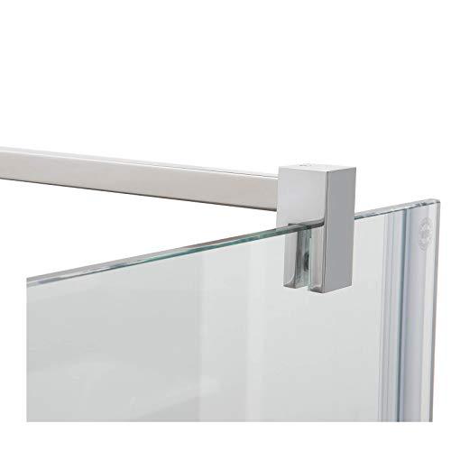 Stabilisierungsstange für Duschen, Stabilisator Duschwand, Stabilisationsstange Glas-Wand (120cm, Chrom Eckig)