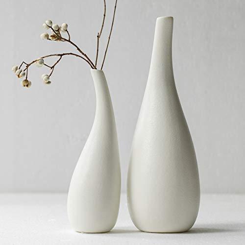 Kimisty Ceramic Vase Pack 2, White Modern Bud Vase, Ceramic Modern Vase Decor, Sculpture Decor, Fire Place Decoration, Mid Century Modern, Drip