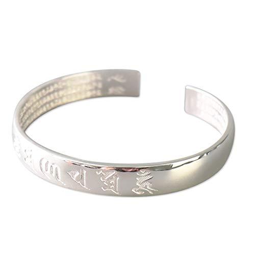 Reclaiming Zen Tibetisch Buddhistischer Silber Om Mani Padme Hum Erleuchtung Mantra Armreif (Silberne Gravuren)