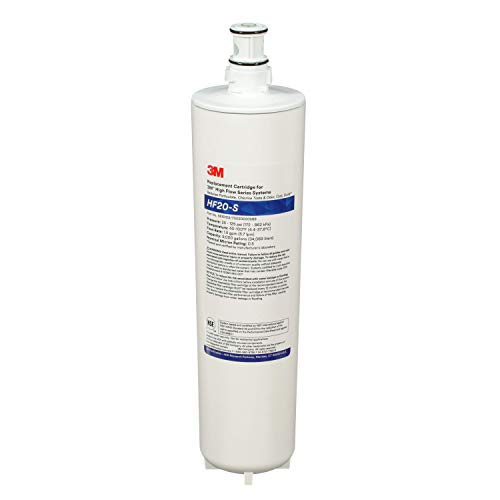 3M 5615103 Water Filtration Replacement Cartridge for Commercial Ice Maker Machines HF20-S for High Flow Series ICE120-S, Reduces Sediment, Chlorine Taste, standart, White