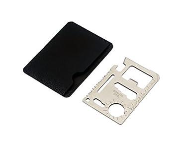Multi-Tool herramienta multifunción en formato de tarjeta de crédito acero para herramientas al aire libre con el bolso de cuero de la marca PRECORN