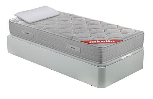 PIKOLIN Pack Colchón viscoelástico de muelles 90x190 + canapé con Base abatible Blanca y Almohada de Fibra, Incluye Subida a Domicilio, Montaje y Retirada de Usado