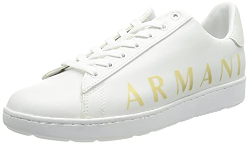 ARMANI EXCHANGE Copenhagen Logo Low Top, Sneaker Donna, Optical White+Gold, 41 EU