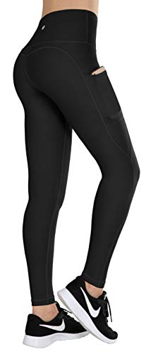 ESPIDOO Yoga Pants for Women, High Waist Tummy Control, 4 Way Stretch Sports Leggings with Pockets Black