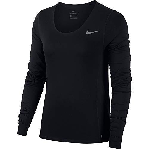 Nike Damen W NK City Sleek LS Long Sleeved T-Shirt, Black/(Reflective silv), XL