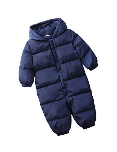 Enfants Hiver Barboteuse Coton Combinaison de Ski - Kids Manches Longues Outerwear Unisexe Hoodie Combinaison Tout-Petit Mignon Onesies (80cm Bleu Marin)