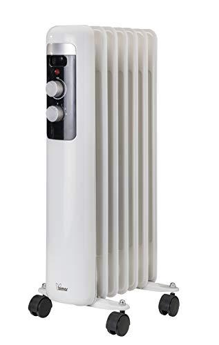 Bimar HO407 Termosifone elettrico, Radiatore ad olio Basso Consumo, calorifero ad olio con 7 Elementi e 5 Canali di Circolazione, Termostato Regolabile, 3 potenze di Riscaldamento, Trasportabile