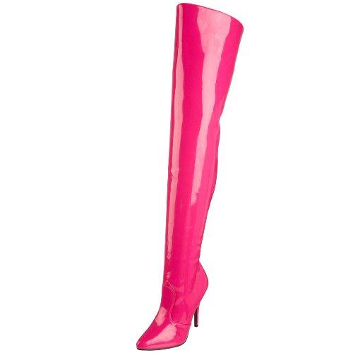 Pleaser SEDUCE-3010 - Stivali con Tacco Altissimo e Plateau, Colore: Nero, Rosa (Hot Pink Patent), 47 EU