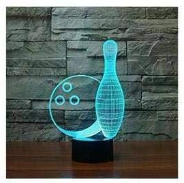 3D Bowling Optische Illusions-Lampen, Tolle 7 Farbwechsel Acryl berühren Tabelle Schreibtisch-Nachtlicht mit USB-Kabel für Kinder Schlafzimmer Geburtstagsgeschenke Geschenk