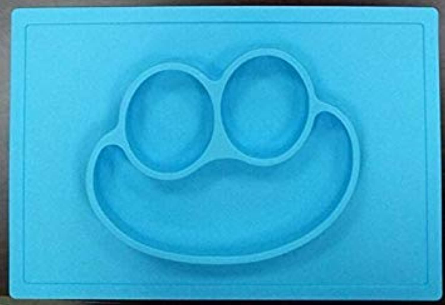 Happy Mat - One-Piece Silicone Placemat + Plate,All-in-one Placemat for Kids suctions to Surface, Non-Slip mat BPA Free bluee