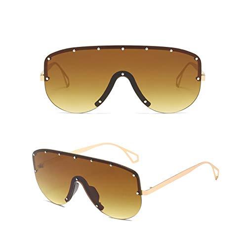 SXRAI Gafas de Sol de Gran tamaño de Moda para Mujer, Gafas de Sol sin Montura de Metal para Hombre, Gafas de Sol de una Pieza con Degradado, Sombras Uv400,C6