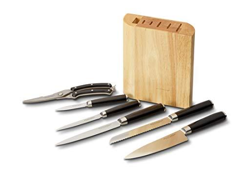 Echtwerk EW-MB-0385 Damastmesser Set, 7-TLG Messerset inkl. Geflügelschere, Extrem scharfe Messer mit typischer Maserung, Stahl