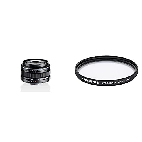 Olympus Objetivo M.Zuiko Digital 17 mm F1.8, Longitud Focal Fija rápida, Apto para Todas Las cámaras MFT + - Filtro Protector para Mzuiko 12 mm (diámetro 46 mm)